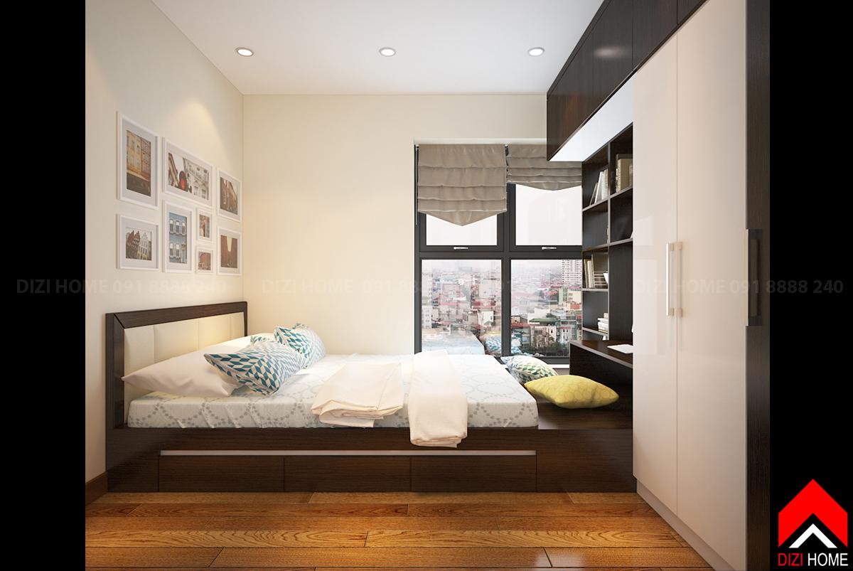 Giường thiết kế dạng bục để tận dụng hết không gian của phòng chật hẹp