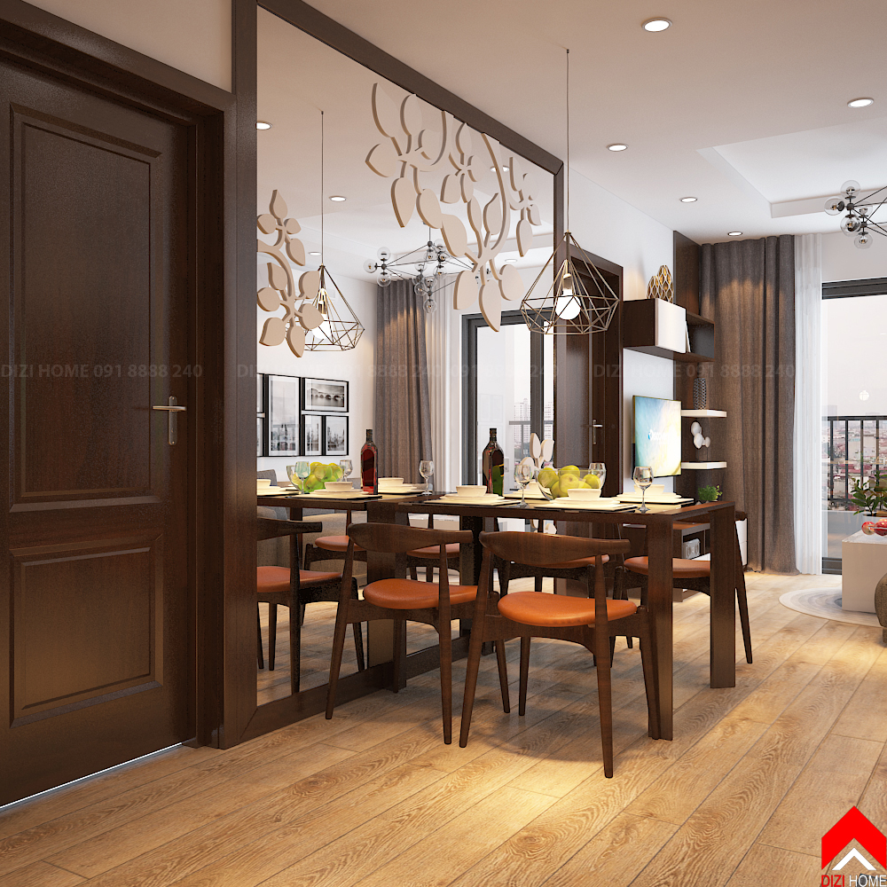 Vách gương trang trí dán hoa văn làm tăng thêm sự rộng rãi cho không gian bàn ăn