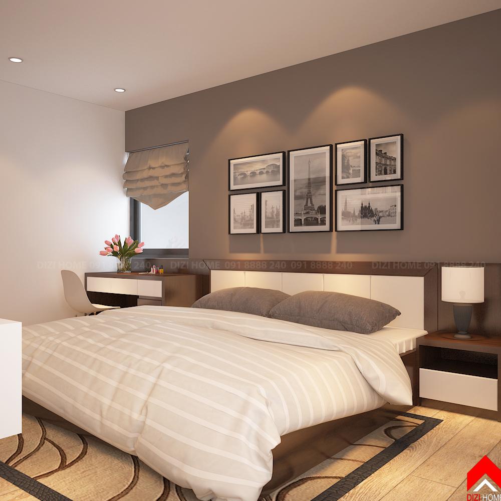 Sơn tường màu đậm và tranh bộ làm điểm nhấn cho đầu giường phòng ngủ
