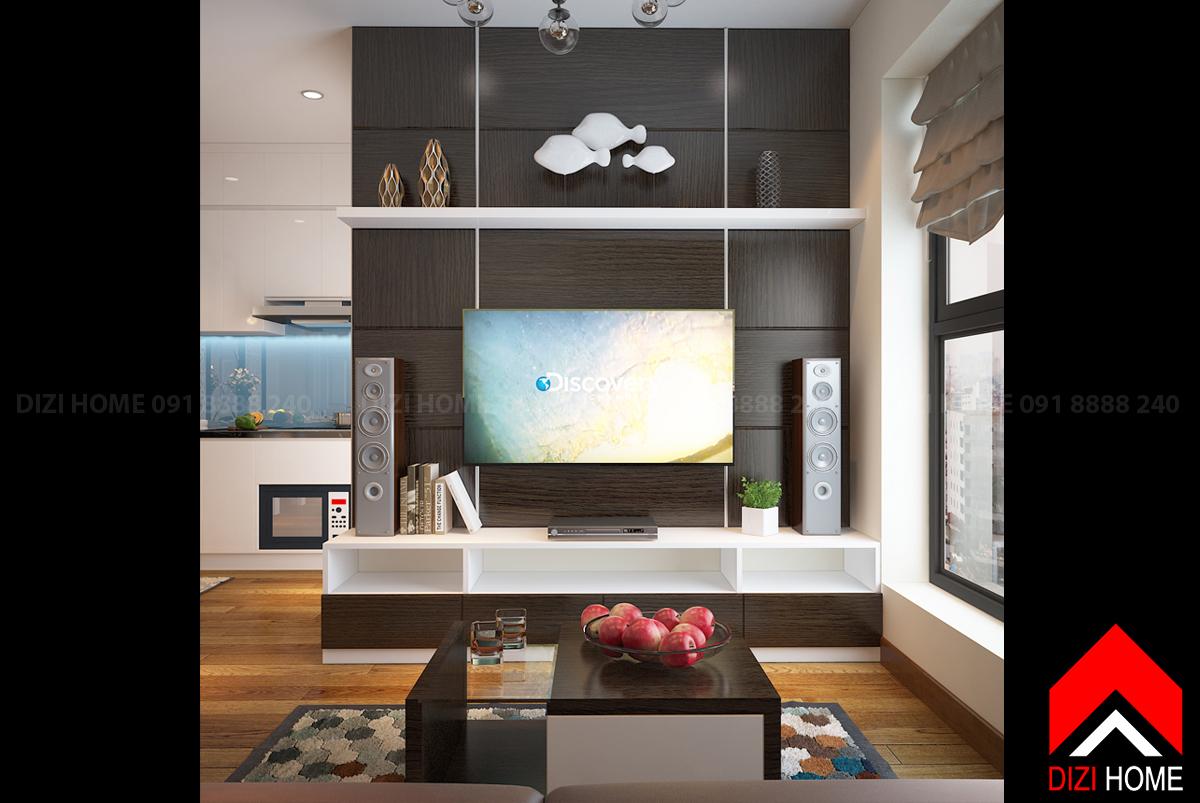 Kệ tivi phòng khách hiện đại với gỗ ốp tường trang trí