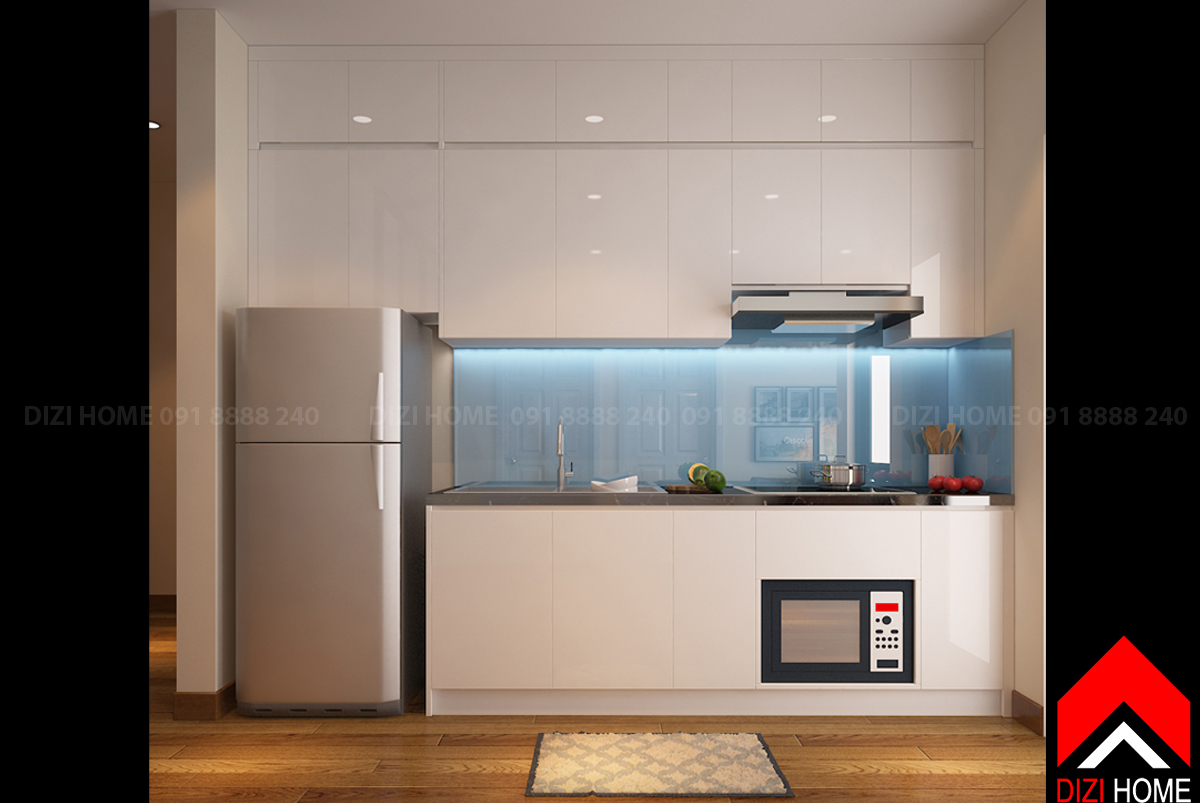 Tủ bếp không quá rộng nhưng đầy đủ các công năng cơ bản.