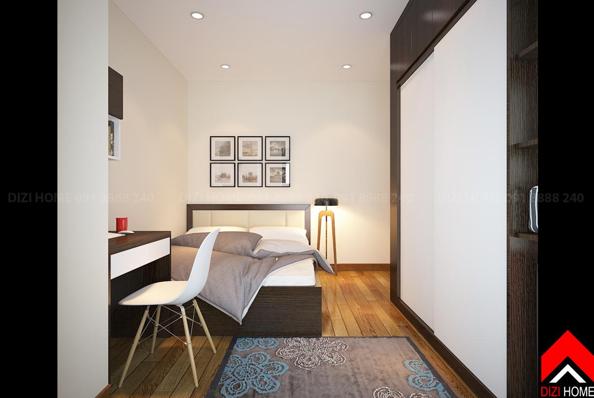 Đầu giường trang trí nhẹ nhàng với khung tranh bộ nhỏ